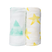 100% Organic Bamboo Muslin Swaddle Blankets (2 pack - 120cm x 120cm ) - Softest Infant Receiving Blankets - Silky Soft & Unisex