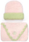 Kashwere Baby Trim Cap/Blanket Set in Pink/Green Size 80cm x 80cm