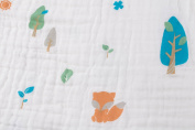 Forever Blanket - Luxurious 4-Layer Organic Cotton Muslin Infant-to-Toddler Blanket- Foxes and Trees