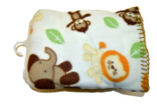 Garanimals 100% Polyester Fleece Soft, Comfy and Cosy 80cm x 100cm Baby Blanket in Light Tan Colour with Varying Jungle Animals and Brown Contrast Whipstitch