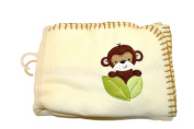 Garanimals 100% Polyester Fleece Soft, Comfy and Cosy 80cm x 100cm Baby Blanket in a Neutral Tan Colour with Happy Monkey and Brown Contrast Whipstitch