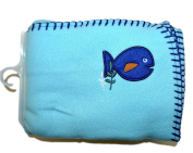 Garanimals 100% Polyester Fleece Soft, Comfy and Cosy 80cm x 100cm Baby Blanket in Teal with An Adorable Blue Fish with Contrasting Blue Whipstitching