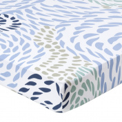 Organic Crib Sheets, Rope by b.bear - Soft Fitted Jersey Knit Crib Mattress Bedding Boys and Girls Navy Blue Nautical
