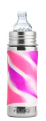 Pura Kiki 11 oz / 325 ml Stainless Steel Sippy Cup with Silicone XL Sipper Spout & Sleeve, Pink Swirl
