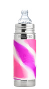 Pura Kiki 9 oz / 260 ml Stainless Steel Insulated Sippy Cup with Silicone XL Sipper Spout & Sleeve, Pink Swirl