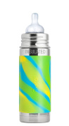 Pura Kiki 9 oz / 260 ml Stainless Steel Insulated Infant Bottle with Silicone Medium-Flow Nipple & Sleeve, Aqua Swirl