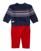 Ralph Lauren Baby Baby Boy's Fleece Crew Neck Corduroy Pants Set (Infant) French Navy 24 mos