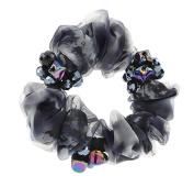 Elegant Silk Yarn Scrunchie Elastics Ponytail Holder Hair Rope/Ties Black