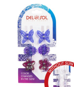 Girl's Colour-Changing Hair Prongs by Del Sol - Glitter Butterfly and Flower Hair Prongs - Changes Colour in the Sun