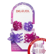 Girl's Colour-Changing Hair Prongs by Del Sol - Glitter Plumeria Hair Prongs - Changes Colour in the Sun …