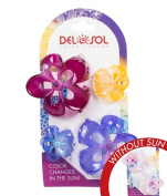 Girl's Colour-Changing Hair Prongs by Del Sol - Flower Pack Hair Prongs - Changes Colour in the Sun