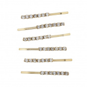 Lux Accessories Gold Tone Rhinestone Crystal Metal Bobby Pin Hair Clip Set 6pcs