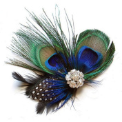 KESEE Peacock Feather Sparkling Rhinestones Bridal Wedding Hair Clip Head