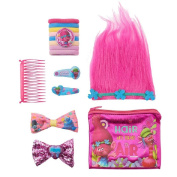 Trolls Poppy Hair Accessories Set with zip bag and Troll style Tiara ages 5 and up