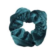 NTL #205 Green Velvet Hair Scrunchies (Regular) Tie Band Ponytail Holder, Hair Scrunchy