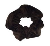 NTL #200 Dark Brown Velvet Hair Scrunchies (Regular) Tie Band Ponytail Holder, Hair Scrunchy