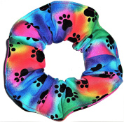 Dog Paw Print Hair Scrunchies Set of 2 Ponytail Holders Rainbow Blue handmade by Scrunchies by Sherry