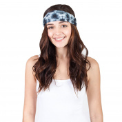 Women's Paisely Boho Cotton Active Yoga Travel Headband-Black-One Size