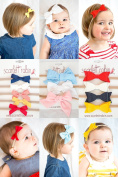 12 Multi-colour Bows on Nylon Headbands Baby and Girls. {Scarlett Robin Brand} Leather, Ribbon, Felt, Suede, Fabric Bows.