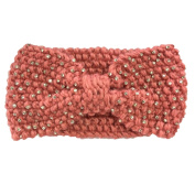 WIIPU rhinestone Knitted Turban Knitted Knotted Mohair Ear Warmer Headband (N74)Pink