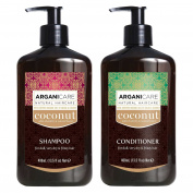 Arganicare Coconut Shampoo and Conditioner Set with Organic Argan and Coconut Oils. For dull, very dry and frizzy hair.