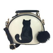 Fashion Culture Kitty Cat Silhouette Dome Crossbody, Cream/Black