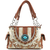 Justin West Vintage Turquoise Stone Concho Western Shoulder Handbag Back Conceal Carry