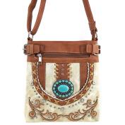 Justin West Vintage Turquoise Stone Concho Western Shoulder Handbag Back Conceal Carry