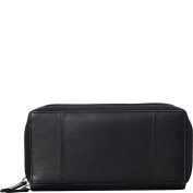 Mancini Leather Goods Double Zipper RFID Secure Wallet