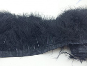 Turkey Feathers Trims Fringe With Satin Ribbon Tape for Dress Sewing Crafts Costumes Decoration Pack of 2 yards