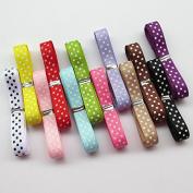 Chenkou Craft 24 Yards 1cm Dot Grosgrain Ribbon Total 12 Colours Mix Lots Bulk