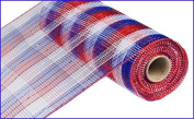 25cm x 9.1m Deco Poly Mesh Ribbon - Metallic Cheque Red White Blue : RE1370EX