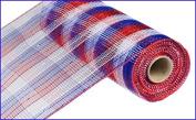 25cm x 9.1m Deco Poly Mesh Ribbon - Metallic Cheque Red White Blue : RE1370EX