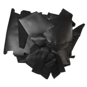 Rustico 0.9kg Box of Black Coloured Top Grain Leather Remnants and Leather Scraps in form USA Raised Cows, 2 – 3 MM Thick (4.5 - 160mls) Leather For Crafts