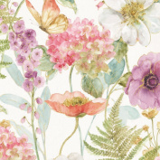 Large Floral, Watercolour Pastels, Rainbow Seeds, Wilmington Prints, By the Yard