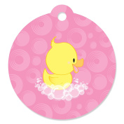 Pink Ducky Duck - Girl Baby Shower or Birthday Party Favour Gift Tags