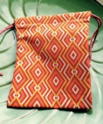 Drawstring bag ~ Handmade Lg size ~ Geometric design ~ Ravenz Roost hand made item