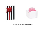 BHYMT Solid White plus a Black and White Stripes Gift Wrap Wrapping Paper Each 60cm by 240cm Beautiful