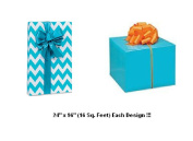 BHYMT Turquoise Chevron and Solid Turquoise Gift Wrap Wrapping Paper each design is 60cm by 240cm Beautiful