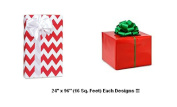 BHYMT Red Chevron and Red Solid Gift Wrap Wrapping Paper Each design is 60cm by 240cm Beautiful