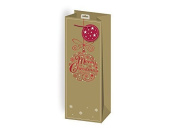 The Home Fusion Company 2 X Xmas Christmas Red & Gold Foil Design Wine Bottle Bag & Tags Gift Wrap Party