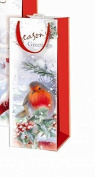 The Home Fusion Company 2 X Xmas Christmas Wine Bottle Bag & Tags Glitter Robin Design Gift Wrap Party