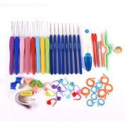 Mercu All-in-one 16 Mixed Sizes Steel Crochet Hooks Knitting Needles Stitches Kits - Includes Locking Markers, Measuring Tape, Scissors, Storage Case and More