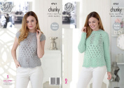 King Cole Ladies Chunky Knitting Pattern Lacy Long or Cap Sleeved Raglan Sweater