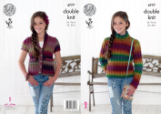King Cole Girls Double Knitting Pattern Ribbed High Neck Sweater & Waistcoat Riot DK