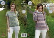 King Cole Ladies Double Knitting Pattern Cabled Panel Short or Long Sleeve Raglan Sweaters
