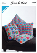 James Brett Crochet Pattern Striped Circles or Flower Pattern Cushion Covers Noodles Chunky