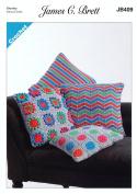 James Brett Crochet Pattern Striped Circles or Flower Pattern Cushion Covers Noodles Chunky