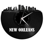 New Orleans Wall Art Cityscape Clock Perfect Unique Vintage Decor Gift for Valentine's Day Boyfriend Girlfriend Black Longplay