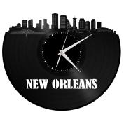 New Orleans Wall Art Cityscape Clock Perfect Unique Vintage Decor Gift for Valentine's Day Boyfriend Girlfriend Black Longplay